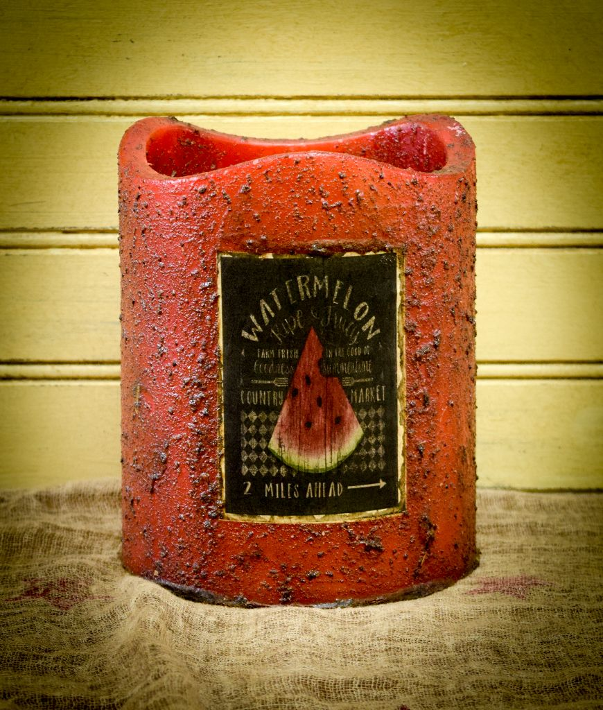 5x6 red timer candle with watermelon picture