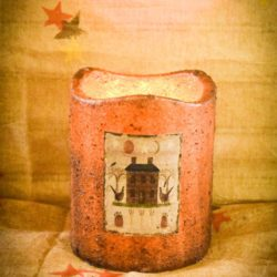 Fall Brown 5x6 Three Wick Timer Pillar