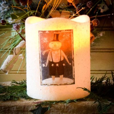 5x6 Three Wick Timer Pillar with Snowman Label