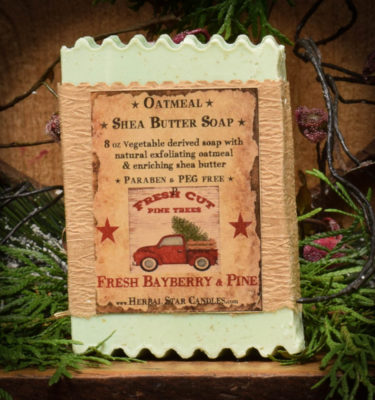 fresh pine and bayberry oatmeal shea butter bar soap