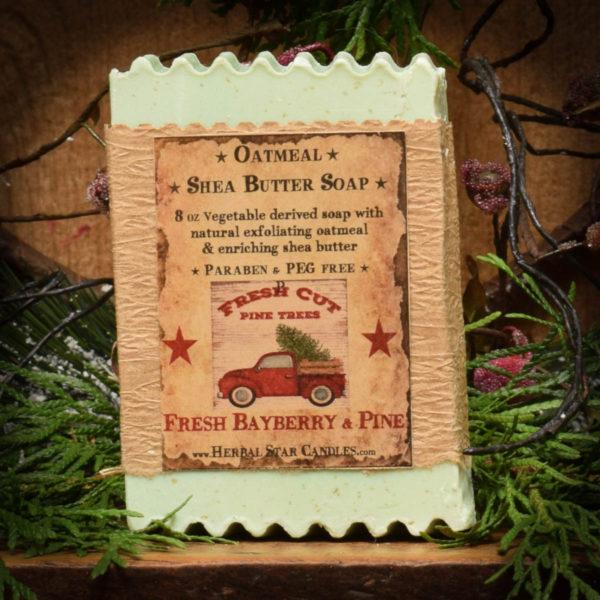 fresh pine and bayberry oatmeal shea butter bar soap