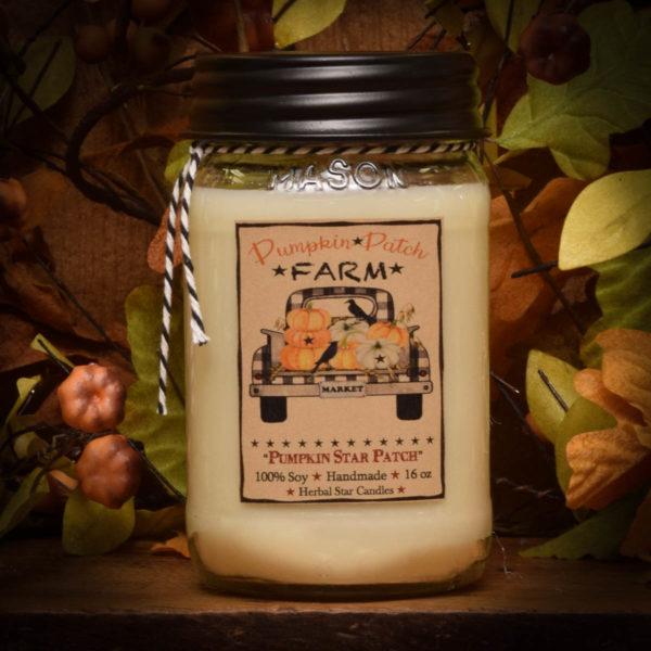 Pumpkin Star Patch Soy Jar candle 16 oz